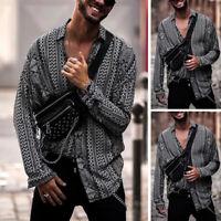 Fashion Dashiki African Clothing Mens Floral Tops Hippy Causal Loose T Shirt  UK