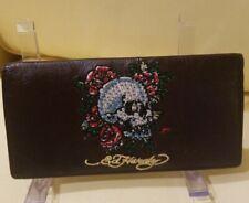 Vintage Ed Hardy Leather Wallet Billfold Brown