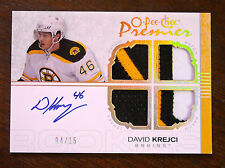 2007/08 DAVID KREJCI O-PEE-CHEE PREMIER PATCH AUTOGRAPH ROOKIE RC SSP /15