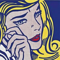 Roy Lichtenstein Oil Painting on Canvas Pop Art wall decor Crying Girl 28x28""