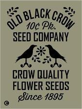 Primitive STENCIL, OLD BLACK CROW SEED COMPANY  Vintage Advertising Flowers