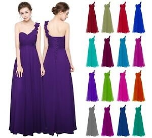 UK- One shoulder Flower Chiffon Bridesmaid Prom Party Dreses-lace up Back.