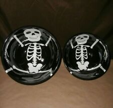 2 Halloween Skeleton Ceramic Mixing Bowls for Treats, Popcorn, Salad, or Candy