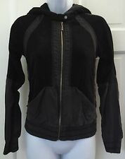 Juicy Couture Black Zip Up Hooded Jacket SZ P Stretchy Casual Gray Silk Trim