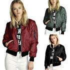 Women Retro Classic Padded Bomber Jacket Ladies Vintage Zip Up Biker Casual Coat