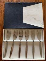 """Vintage Rostfrei Kuchengablen im Geschenkkarton Dessert Forks Box Of 6 New 6"""""""