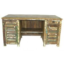"""60"""" W Desk two door drawer distressed paint reclaimed wood hand crafted unique"""