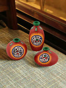 Exclusive Set of 3 Red Warli Hand-Painted Earthen Showpiece DIWALI DECOR GIFT