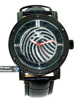 mens black diamond clubbing watch finger print dial leather king