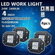 4X 24W 4 INCH CREE LED WORK LIGHT FLUSH MOUNT OFF ROAD DRIVING 4WD PODS JEEP 3