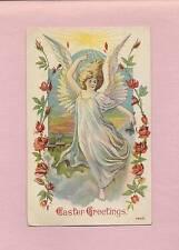 Lovely Full-Length ANGEL In White Robe On Beautiful Vintage 1911 EASTER Postcard