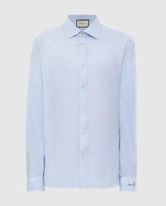 NWT Gucci Logo Flower Cuff Blue White Gingham Button Down Dress Shirt 16.5 $790