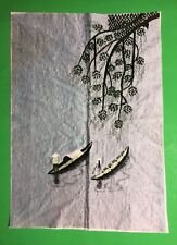 """13 1/2"""" x 19"""" Embroidered Asian River Tree Sampan Boat Fishing Wall Art Picture"""