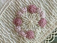 Vintage White Linen Round Tablecloth Hand Embroidered Flowers Pink White Lace