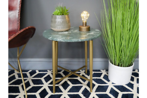 Iron & Marble Side Table | Green with Gold Legs | Height 45 cm