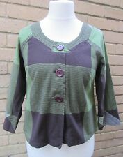 Adini Ladies Green & Brown Square & Stripe Patterned Jacket Size XS