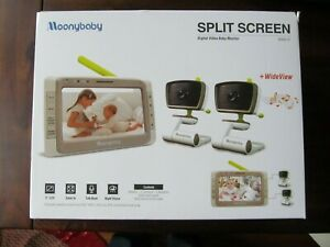 MoonyBaby Baby Monitor with 2 Cameras Split Screen, Wide View, 5 Inches LCD NEW