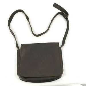 Village Tannery Sevestet New York Dark Brown Leather Messenger Bag vintage