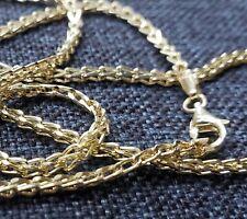 """Hombre Mujer 10K Real Oro Amarillo 1.5mm-2mm Franco Enlace Cadena Collar 16"""" -30"""""""