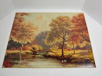 Canal Scene vintage lithograph by M Martin