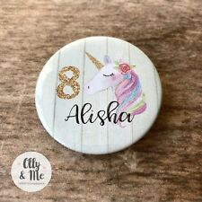 Beautiful Personalised ANY Name/Age Cute Unicorn Birthday Badge Party Boy/Girl
