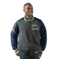 Seattle Seahawks Jacket Men's Power Hitter Full-Snap Varsity Jacket G-III NFL XL