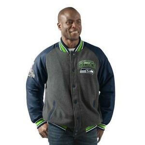 Seattle Seahawks Jacket Mens Power Hitter Full-Snap Varsity Jacket G-III NFL 2XL