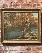 1909 Impressionist Oil Painting By Adam Emory Albright. Children Fishing. Signed