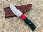 Handmade Damascus Steel Skinner Knife Dollar sheet Handle Hunting Camping Knife