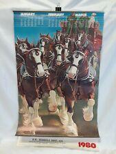 Rare! Vintage! BUDWEISER ANHEUSER BUSCH 1980 Poster Style Wall Calendar 30x20