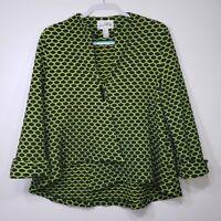 Joseph Ribkoff Women's Spotty Swing Jacket 14 Blazer Green Black Toggle