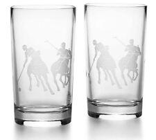 NIB Ralph Lauren Home *GARRETT HIGHBALL* Crystal GLASSES (Set of 2) POLO MATCH