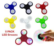 LOT OF 5 PACK Tri Fidget Hand Finger Spinner Gyro LED Flash Light Up EDC Focus