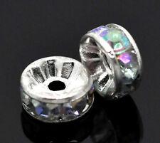 KUS: 100 Versilbert AB Farben Acryl Strass Rondell Spacer Perlen Beads 8mm