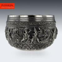 ANTIQUE 19thC EXCEPTIONAL BURMESE SOLID SILVER THABEIK BOWL, RANGOON c.1890