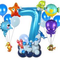 Sea World Theme Latex Balloon Blue Digital Seahorse Dolphin Party Supplies HOT