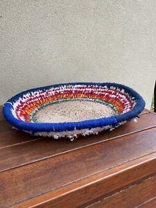 Aboriginal Woven Fibre & Wool Basket By Wentja Napaltjarri Mt Liebig NT c2003