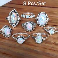 8Lot Fashion Women Vintage Boho Jewelry Midi Ring Set Crystal Opal Knuckle Rings
