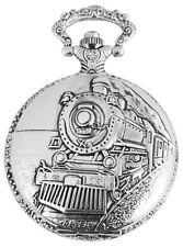 Taschenuhr Flair Silber Eisenbahn Lokomitive Band Lok Motiv Quarz mit Kette Uhr