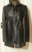 LUXX BLACK PU Faux Vegan LEATHER ZIPPED COAT S/M uk6eu32us2 Chest c36ins c91cms