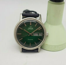 USED VINTAGE 1973 OMEGA GENEVE TWOTONE GREEN DIAL DAYDATE AUTOMATIC MAN'S WATCH