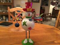 Vintage Metal Bobble Wobble Holiday Decor Snowman 14 Inch Tall