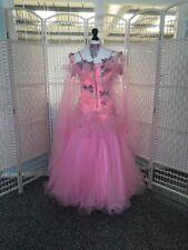 STUNNING PINK RUFFLED, STONED BALLROOM DRESS