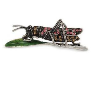 Grasshopper Locus Insect in Pink & Citrine Sparkling Diamante New Design