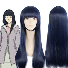 NARUTO Hyūga Hinata Cosplay Wig Dark Blue Straight Long Hair Bangs Full Wigs