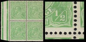 "AUSTRALIA 60a (SG48a) - King George V ""Thin ""1/2"" at Right"" (pa72950) NH $300"