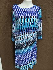 New $129 Chico's Geometric Wave Raine Dress Blue White Black 2.5 L Large 14 NWT