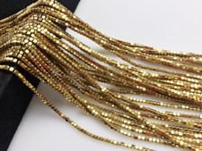 Gold Plated Hematite Cube Gemstone Loose Beads Size 2x2mm Approx 15.5'' Long