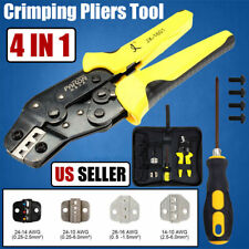 4 In 1 Adjustable Ratcheting Wire Cable Crimper Pliers Connectors Terminal Tool