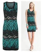 NWT $140 BANANA REPUBLIC Petite Issa Collection Zebra Printed Sweater Dress XL